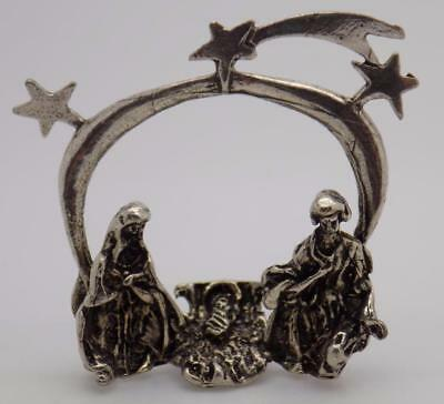Vintage Solid Silver Italian Made Christmas Nativity Miniature, Figurine, Stamp*
