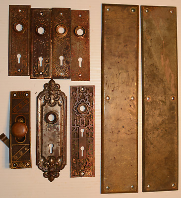 Lot Salvaged Antique Brass Numbered Door Push Plates Pair Large Solid Brass