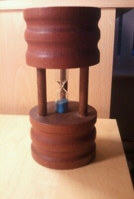 Vintage treen wooden hour glass egg timer