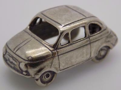 Vintage Solid Silver Italian Made Iconic Fiat 500 Car Miniature, Figurine, Stamp