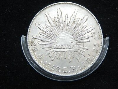 Mexico 8 Reales Mo 1857 GF, LOW DATE,KM#377.10, Silver Crown Size