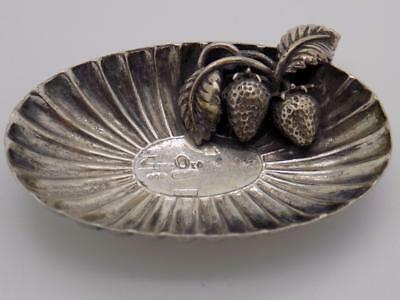 Vintage Solid Silver Italian Made Basket w/t Strawberries Miniature, Stamped