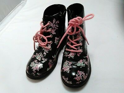 Pre-owned THE CHILDREN'S PLACE Girls Floral  Print Black Combat Boots Size 11