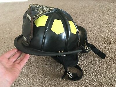 Bullard Hard Boiled Firedome UST Fire Helmet Black with Goggles, Neck Protection
