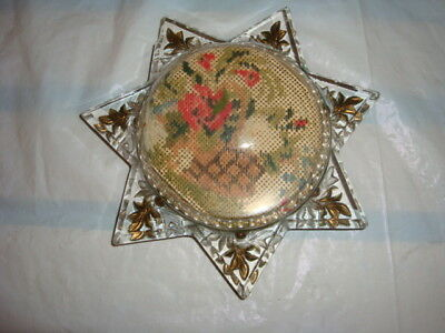 Sun 7 Point Star Photo Frame Magnifying Glass Reading Aid Paperweight Gilt Leaf