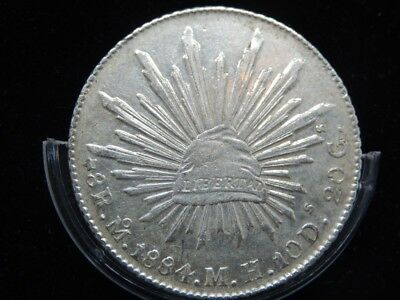 Mexico 8 Reales Mo 1884 MH,KM#377.10,XF Silver Crown Size