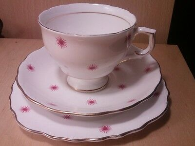 Pink star pattern colclough teaset trio.cup,saucer & side plate 50s atomic style