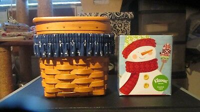Longaberger Tall Tissue Basket Lid Classic Blue  Garter Free Tissues! 2000