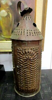 Antique Pierced Copper Hand Crafted 19th Century Candle Lantern