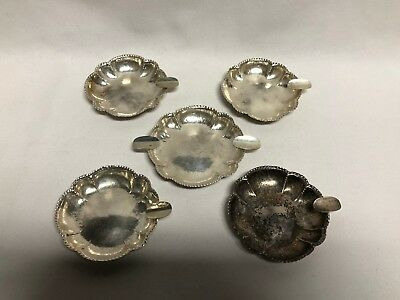 Germany 800 Silver Set of 5 Hammered Ashtrays 137g