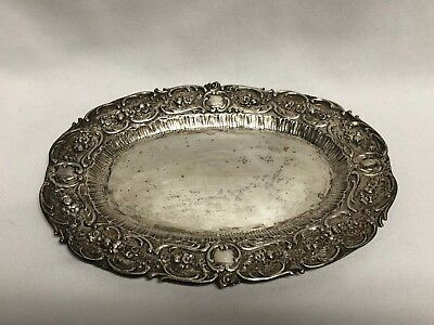 "Germany 800 Silver Repousse Oval Dish Tray 8 1/2"" 193g"