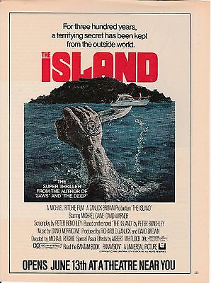Vintage 1980 The island movie Peter Benchley print ad  Great to frame!