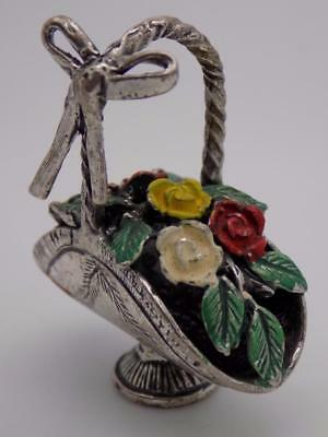 Vintage Solid Silver Italian Made Flower Basket Miniature, Figurine, Stamped