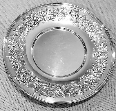 "Kirk & Son  Sterling Silver Repousse 727 Floral Large Plate 10"" 422 Grams"