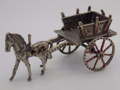 Vintage Solid Silver Italian Made Traditional Carriage Miniature, Figurine,Stamp