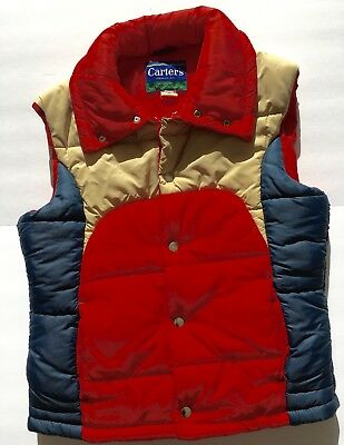 vintage retro 80s H.W.Carter and Sons puffy ski vest red, navy and tan Med.