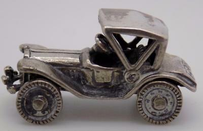 Vintage Solid Silver Italian Made Car Miniature, Figurine, Stamped, Dollhouse