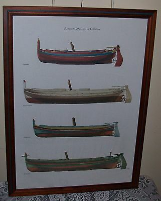 LARGE FRAMED ARTWORK 'BARQUES CATALANES DE COLLIOURE' 75x55cm *PICK UP SA ONLY*