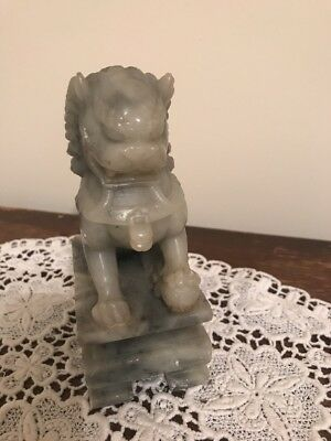 Vintage Antique Chinese Marble or Soapstone Carved Fu / Foo Dog