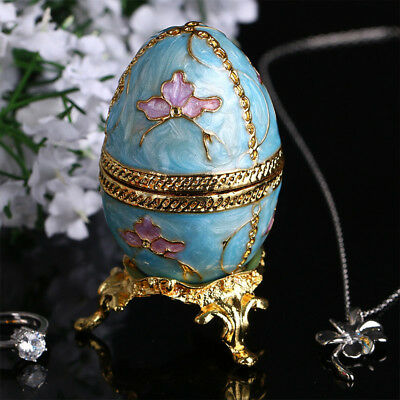 Russian Faberge Egg Jewelry Trinket Box Vintage Egg Figurine Metal Craft Gift