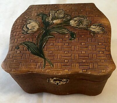 Vintage Victorian Collar Box Embossed Flower Tulip Design Faux Wicker Textured