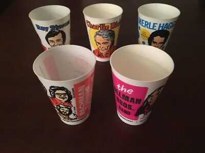 1970s Seven 7-11 Eleven ROCK / COUNTRY Music CUP Lot 5 Rare ALLMAN BROTHERS ++