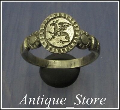 ** GRYPHON ** Ancient Silver LEGIONARY Roman Greek  Ring ** VERY RARE **