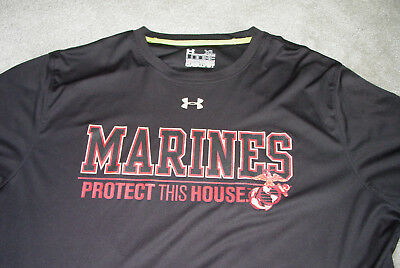 USMC Marine Under Armour T-Shirt Marines Protect This House XL Black