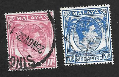 Used Singapore Pair 1949-52 Sc# 9-A & 13 10 &20-cent King George VI Stamps