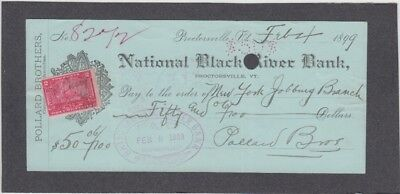 National Black River Bank Check  Proctorsville, Vermont  1899  Revenue Stamp