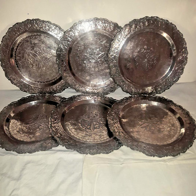 Late 19th Century Burmese Or Siamese Set of 6 Matching Silver Chargers Plates