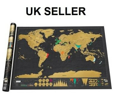 Black Deluxe Large Scratch Off World Map Poster Travel Vacation Gift Uk