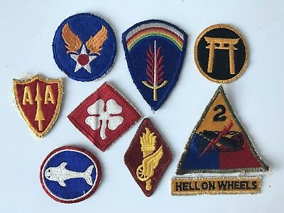 WWII WW2 Lot SHAEF Army Air Corps Force 2nd Armored Infantry Patton 9 Patches
