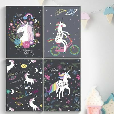 Kids Posters: Space Unicorns, Set Of Four, 11X17 Wall Art For Bedroom Decor. Bed