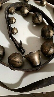 Antique sleigh bells - 17 graduated numbered leather harness - AS FOUND IN BARN