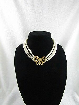 Vintage Avon Butterfly Crystal Faux Pearl Triple Strand Necklace