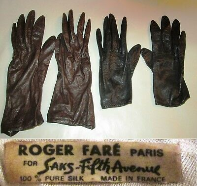 2 Pair Leather Roger Fare Paris Womens Gloves Brown Black Sz 7 Saks Fifth Ave