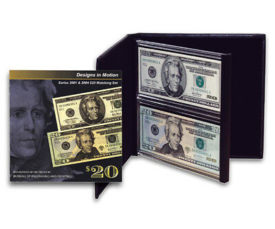 Design in Motion Series 2001 & 2004 $20 Federal Reserve Note Matching Set