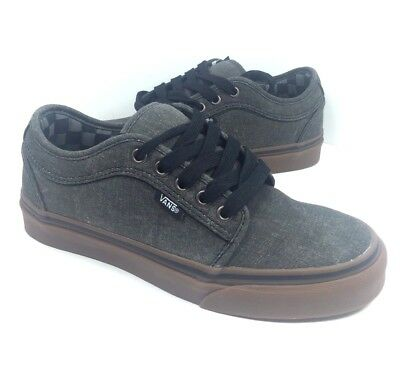 fae9516d675b4 NEW VANS CHUKKA Low (Washed) Black/Gum Classic Mens Skate Shoes Sneakers Sz  6.5