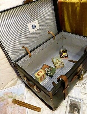 Superb Vintage Leather/ Canvas Steamer Trunk Chest Brass Fittings