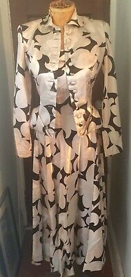 Vintage Black & White Print Satin Doll 2 Pc Party Dress Suit 1940s~50s Pin Up
