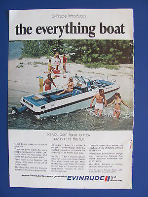 1970  Evinrude Dolphin 25 Foot 210 hp V-8 Boat Color Ad