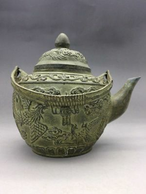 Pot of Chinese pure hand-carved longfeng hip (qianlong mark) T91