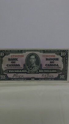 1937 Bank of Canada $10.00 Bank Note