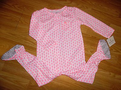 Carter's NWT New 24 Months Neon Pink White Flower Sleeper Footed pajamas