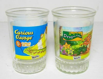 Two Welch's Jelly Jar Glasses, Curious George and Dragon Tales, exc. cond.