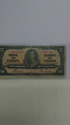 1937 Bank of Canada $2.00 Bank Note