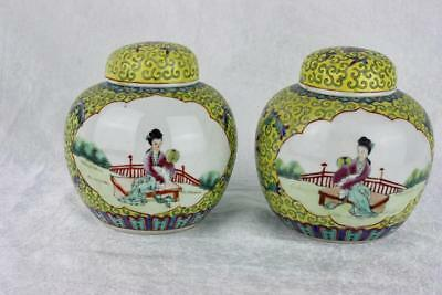 Vintage Chinese Covered Jars Yellow Enamel Hand Painted Woman Boy Signed