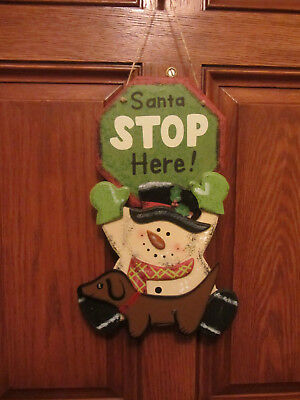 SANTA STOP HERE Red/Brown Dachshund & Snowman Christmas Door/wall Decor!