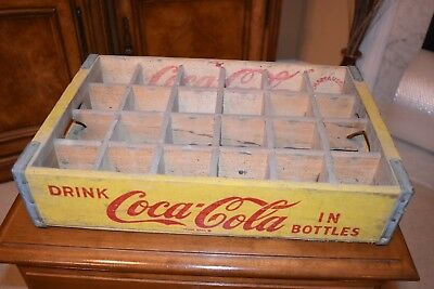 Vintage Coca Cola  Yellow and Red 1967 Chattanooga Wood Crate, 24 slots